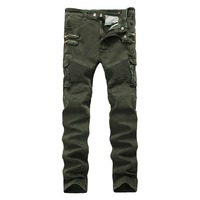 Military Style Denim Cargo Jeans For Men Autumn Winter Mens Cargo Pocket Jeans Pants With Side Pocket Plus Size 38 40 42