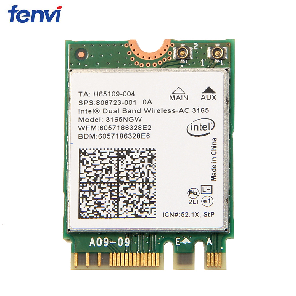 433M Wireless NGFF Network Wifi Card With Intel AC 3165 3165NGW Bluetooth 4.2 Dual Band 2.4GHz/5GHz 802.11ac For Windows7/8/10