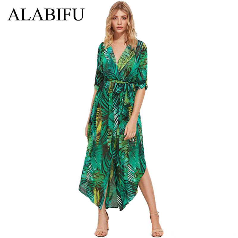 ALABIFU Chiffon Long Summer Dresses For Women 2018 Sexy V Neck Beach Maxi  Dress Elegant Slim Floral Print Party Dresses vestidos-in Dresses from  Women s ... 45563694a78c