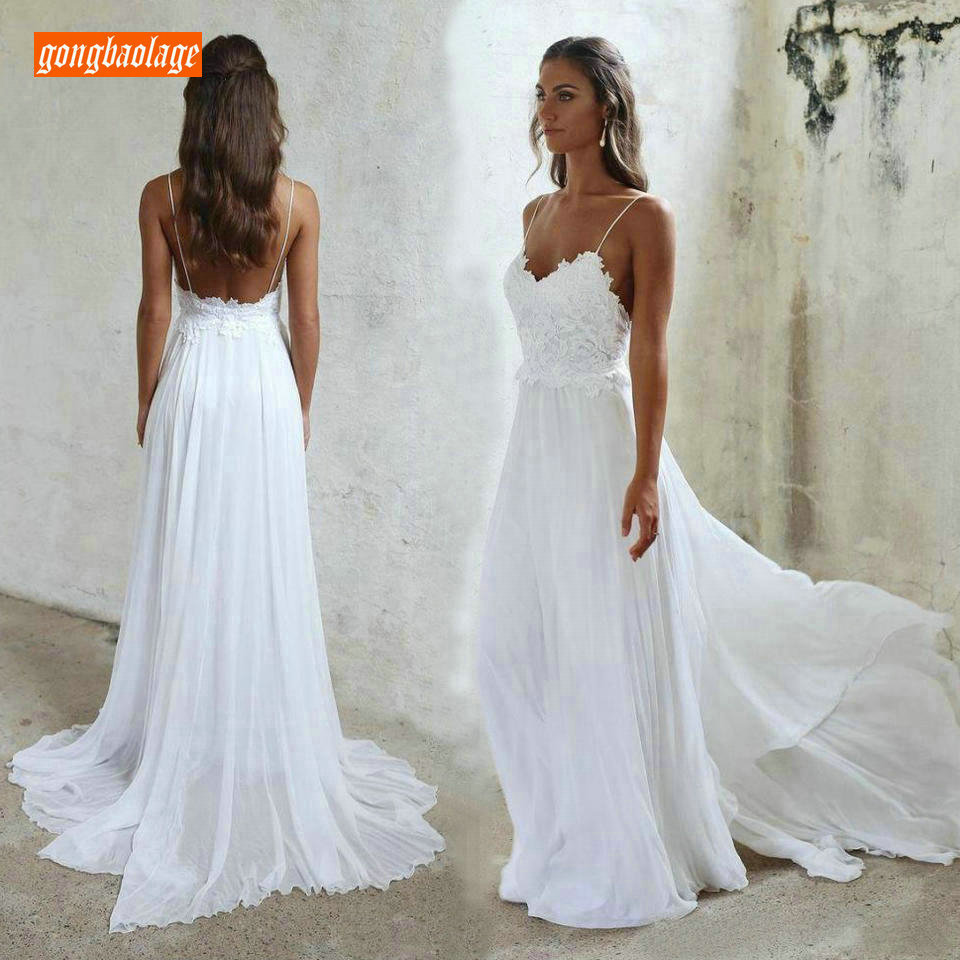 Sexy Bohemian Women White Wedding Gowns 2019 Ivory Wedding Dress For Party Gongbaolage Sweetheart Chiffon Rural Bridal Dresses