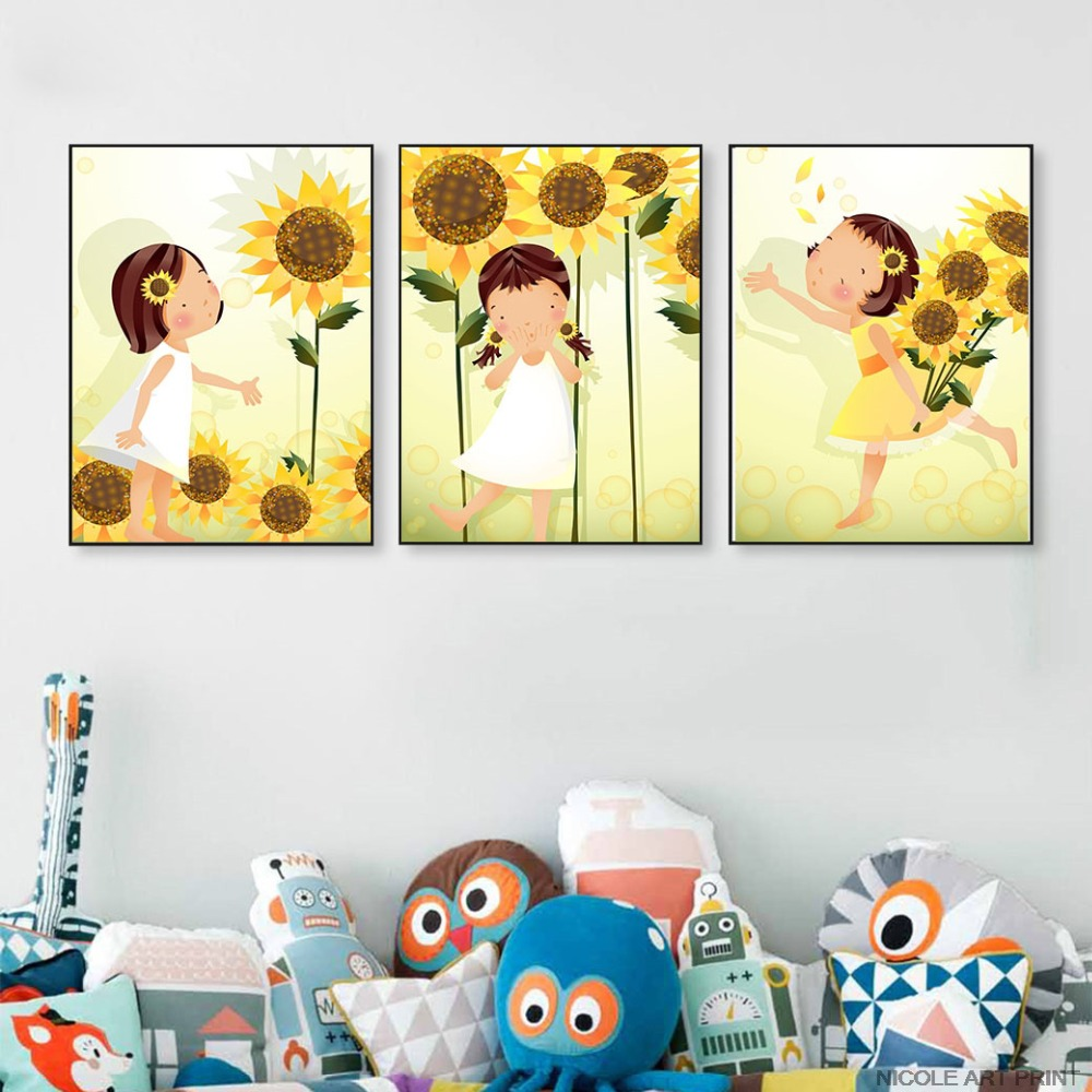 Kawaii Flower Girl Art Canvas Poster Minimalist Cartoon Nursery Wall ...