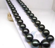 huge 18″ 10-11mm AAA++ Tahitian Black Pearls Necklace >Selling jewerly free shipping