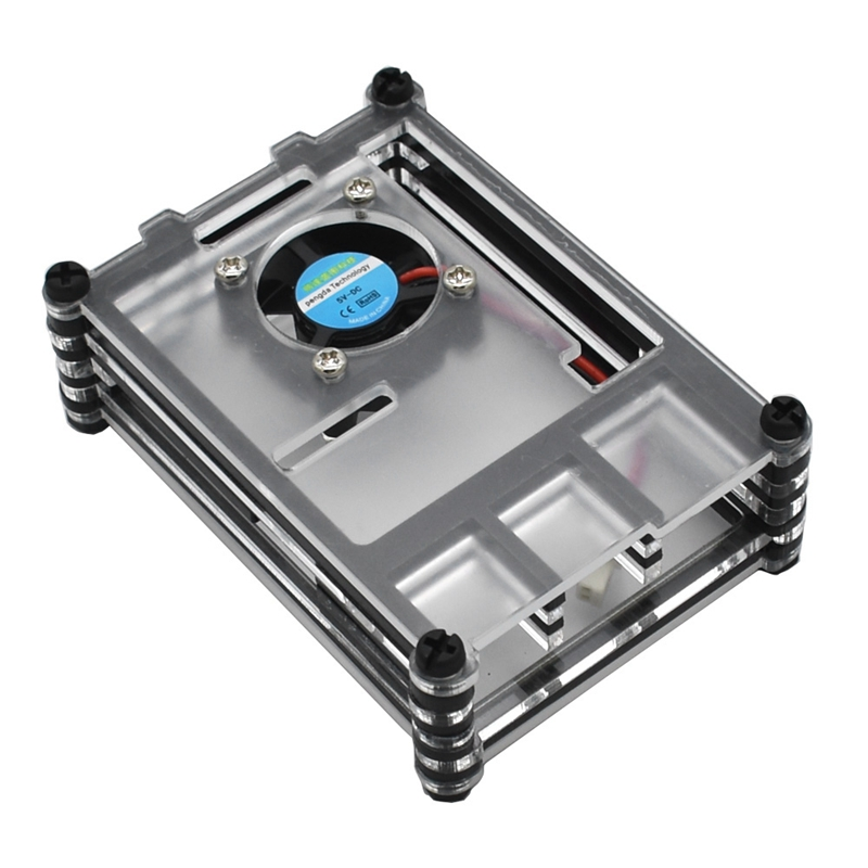 Geekteches Raspberry Pi Acrylic Case With Cooling Fan For Raspberry Pi 4 Model B