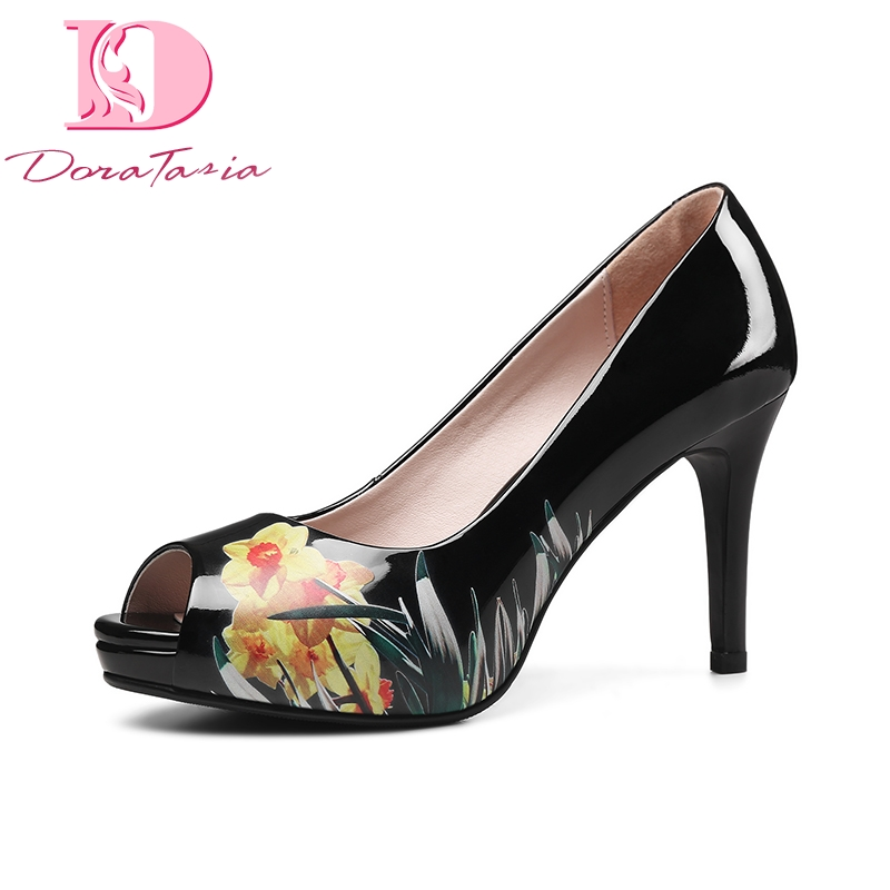 DoraTasia 2018 spring autumn elegant print flower women pumps elegant genuine leather ol shoes woman high heels lady shoe flower collection colorful embellished floral print buckle women pumps gladiator 3d flower shoes elegant ladies led shoes