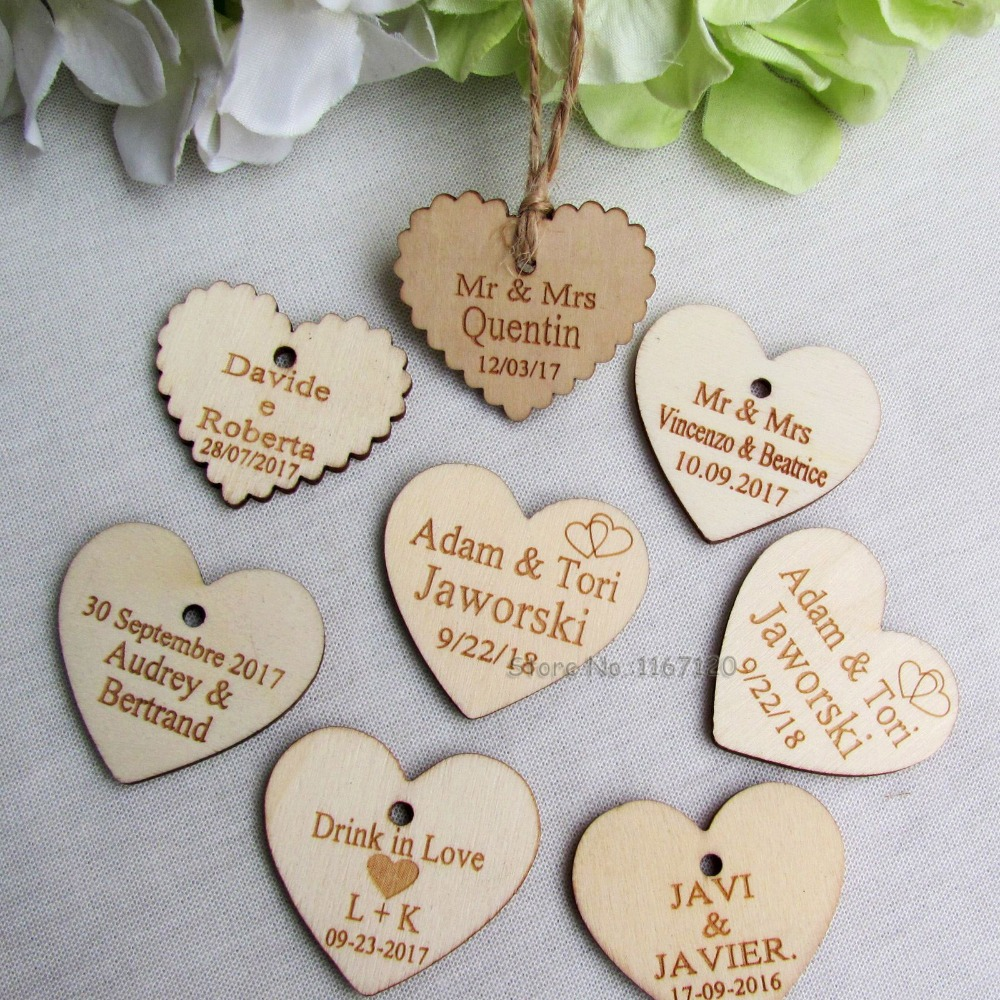 65pc / 200pc Personalized custom engraved wedding name dan date wooden Heart tag Wedding Card Gift Tags + Jute String 40mm * 37mm