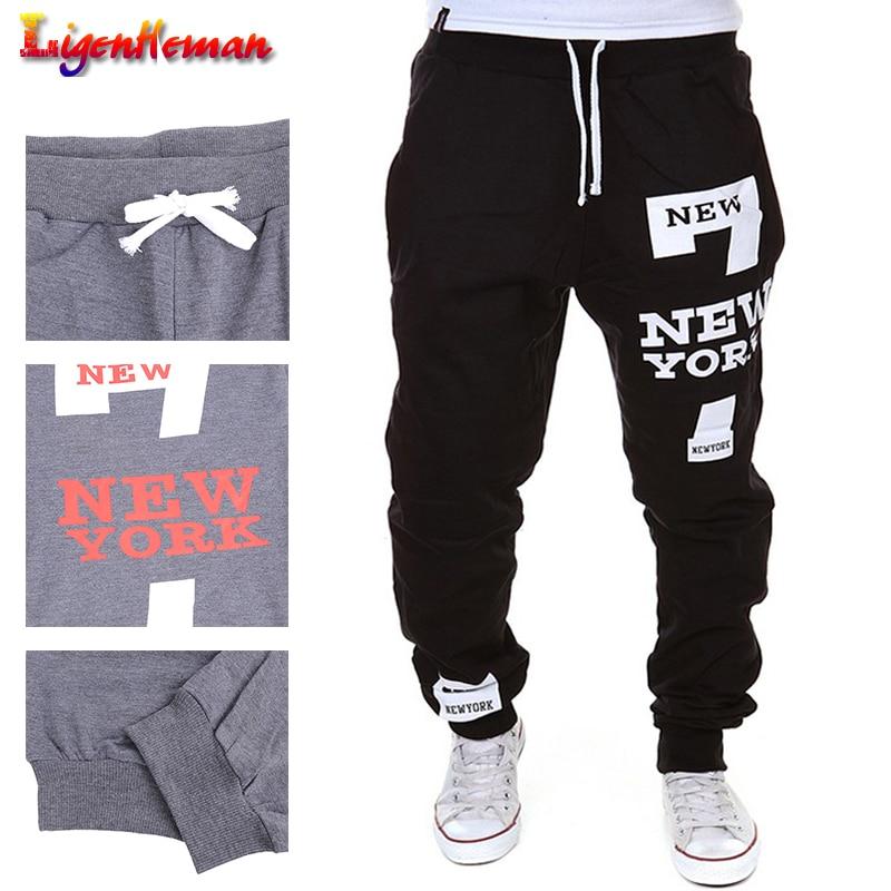 Fashion Pants Plus Size 3XL New Men's Pants 7 New York Letter Print Sweatpants Joggers New Male Cotton Lace-up Casual Trousers