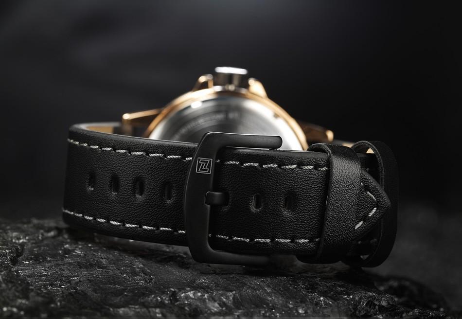 Naviforce NF9086 Men Fashion Quartz Watch Black Leather Strap