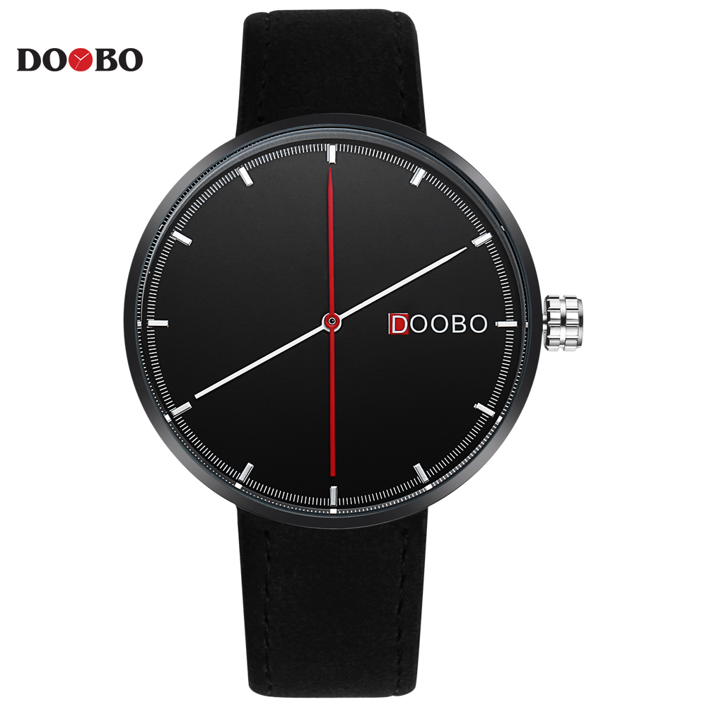 2017 gift DOOBO creative style cool wristwatch two balance hands with Fine scale casual leather strap fashion quartz watch Men