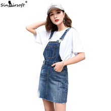 Hem Distressed Denim Overall Dress 2019 Summer Straps Sleeveless Ripped Clothing Women Plus Size Casual Denim Dress distressed rolled hem overall denim shorts