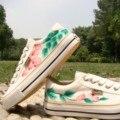 Ручная роспись обувь женские корова мышцы подошва холст одиночные обувь с низким шнуровкой китайский стиль чернила