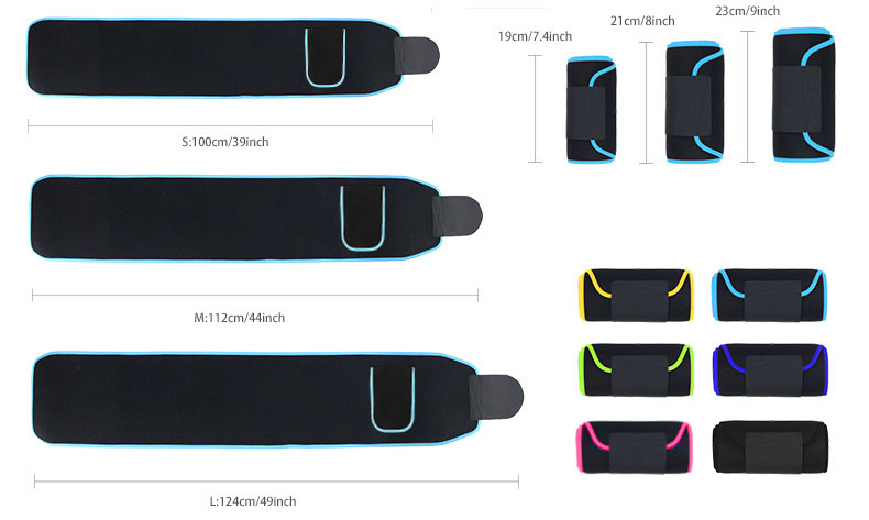 Waist Support Trimmer Belt Exercise Weight Loss Gym Fitness Belts protector weightlifting adjustable lycra pocket training