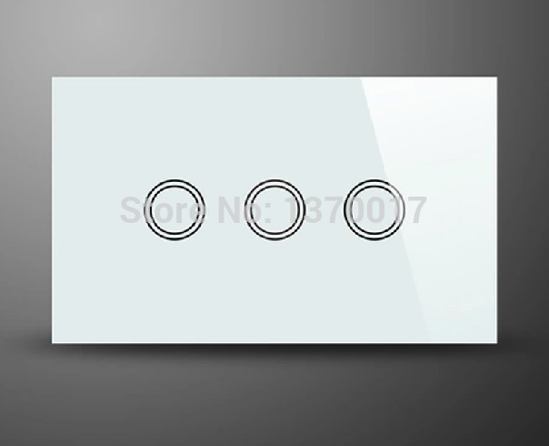 ФОТО White Crystal Glass AU US Standard 3 Gangs 2 Way Touch Switch,LED Indicator  AC 110-240V Light Wall Switches, Free Shipping