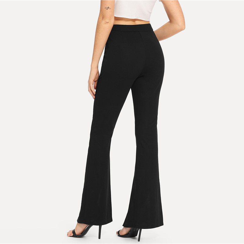 SHEIN Black Split Solid Leggings Workwear Elegant Plain Mid Waist Casual Leggings Women Fitness Spring Autumn Pants 6