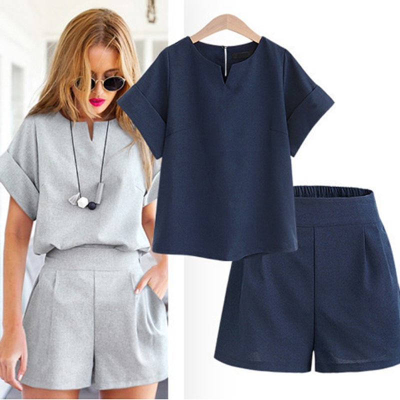 Casual Cotton Linen Two Piece Sets Women Summer V-Neck Short Sleeve Tops+Shorts Female Office Suits Set Women's Costumes