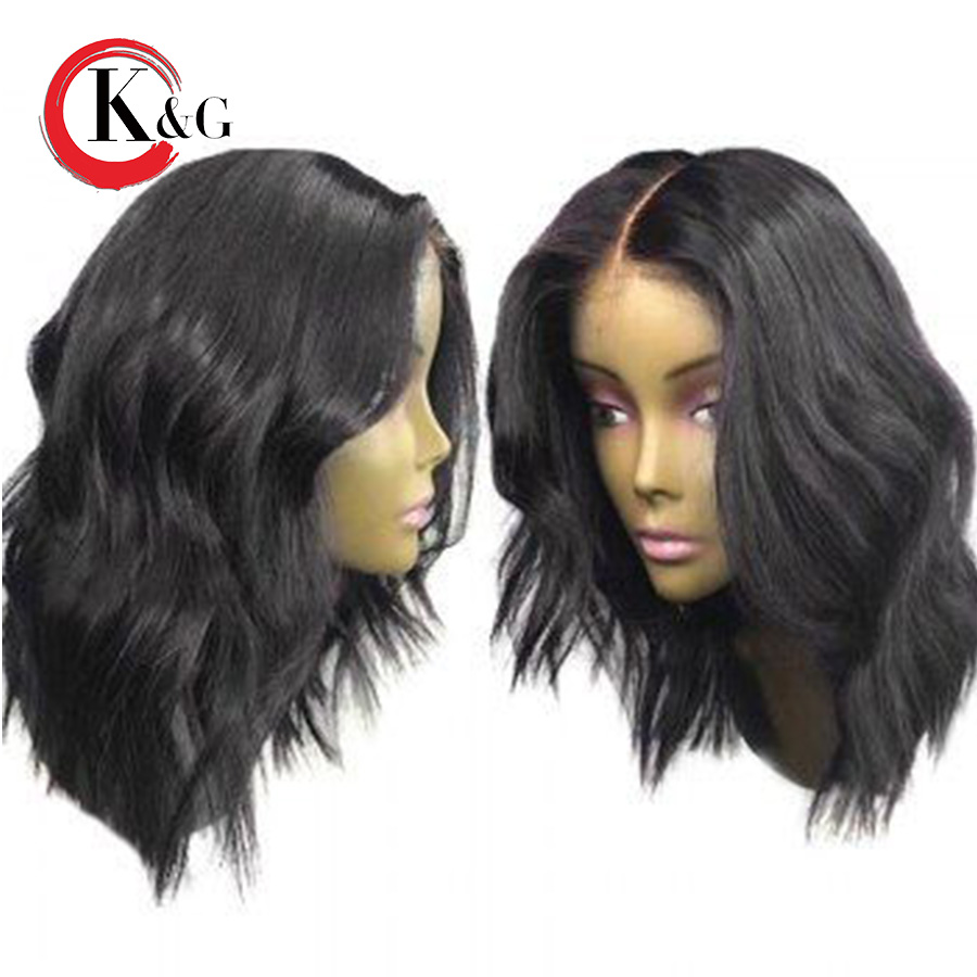 Kun Gang Short Wavy Lace Front Human Hair Wigs With Baby Hair Middle Part Brazilian Remy
