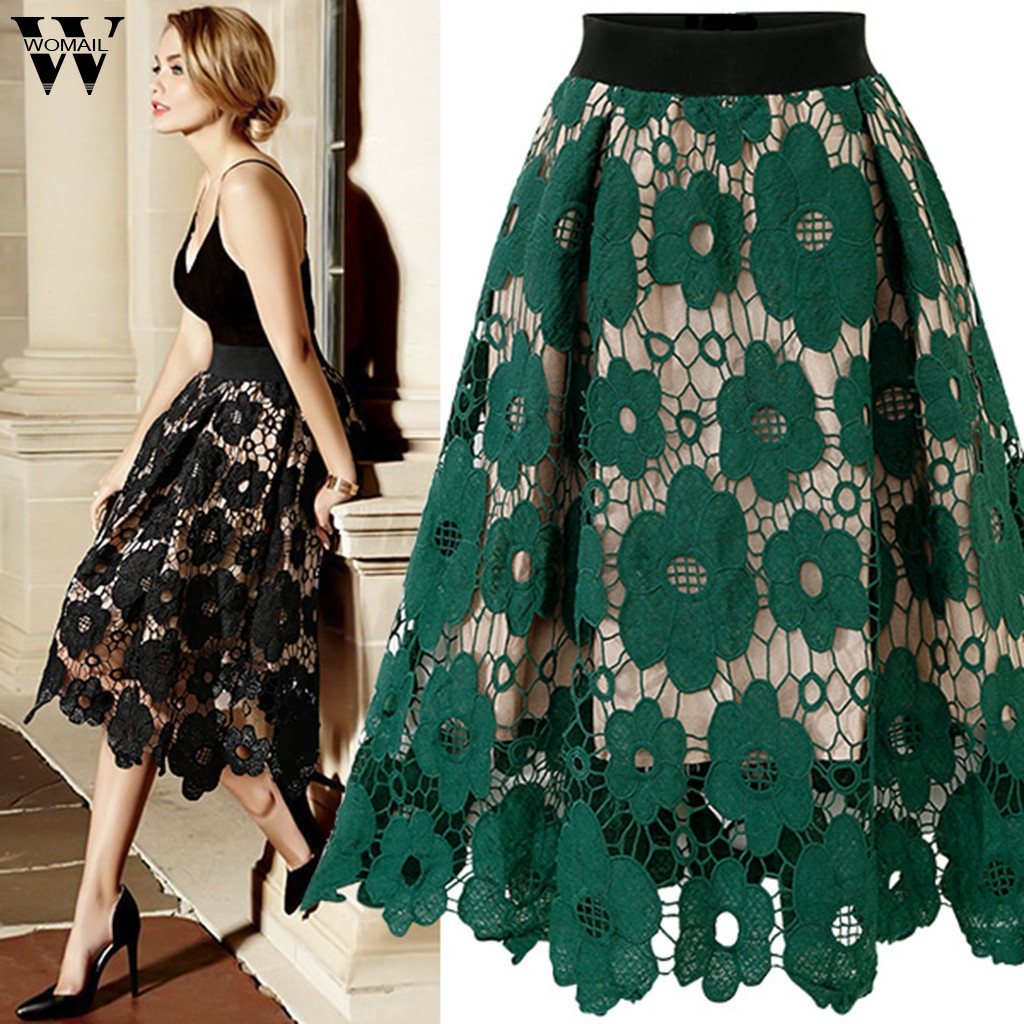 Womail Skirt Women Fashion Lace High Elastic Waist Hollow Flared Printed Party Long Skirt Sexy Elegant Skirt 5XL Casual J76
