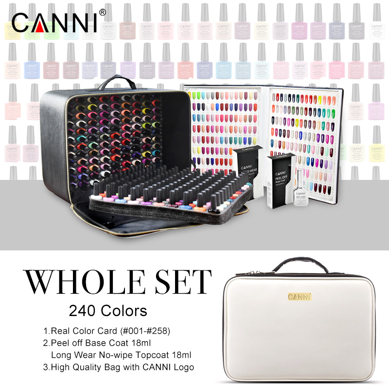 240 Colors lot CANNI Soak Off Gel Nail Polish 7 3ml LED UV Color Gel Lacquer