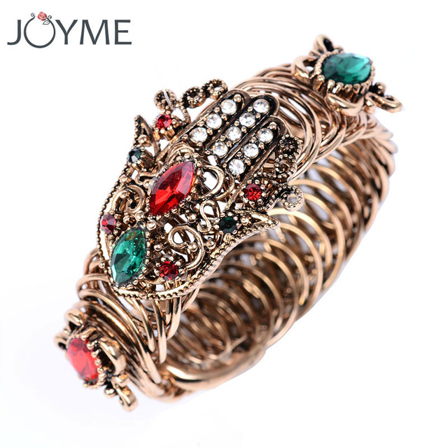 Newest Designer Bracelets For Women Luxury Wide Open Arm Crystal Bracelet Copper Unique Bangles Fatima Hand