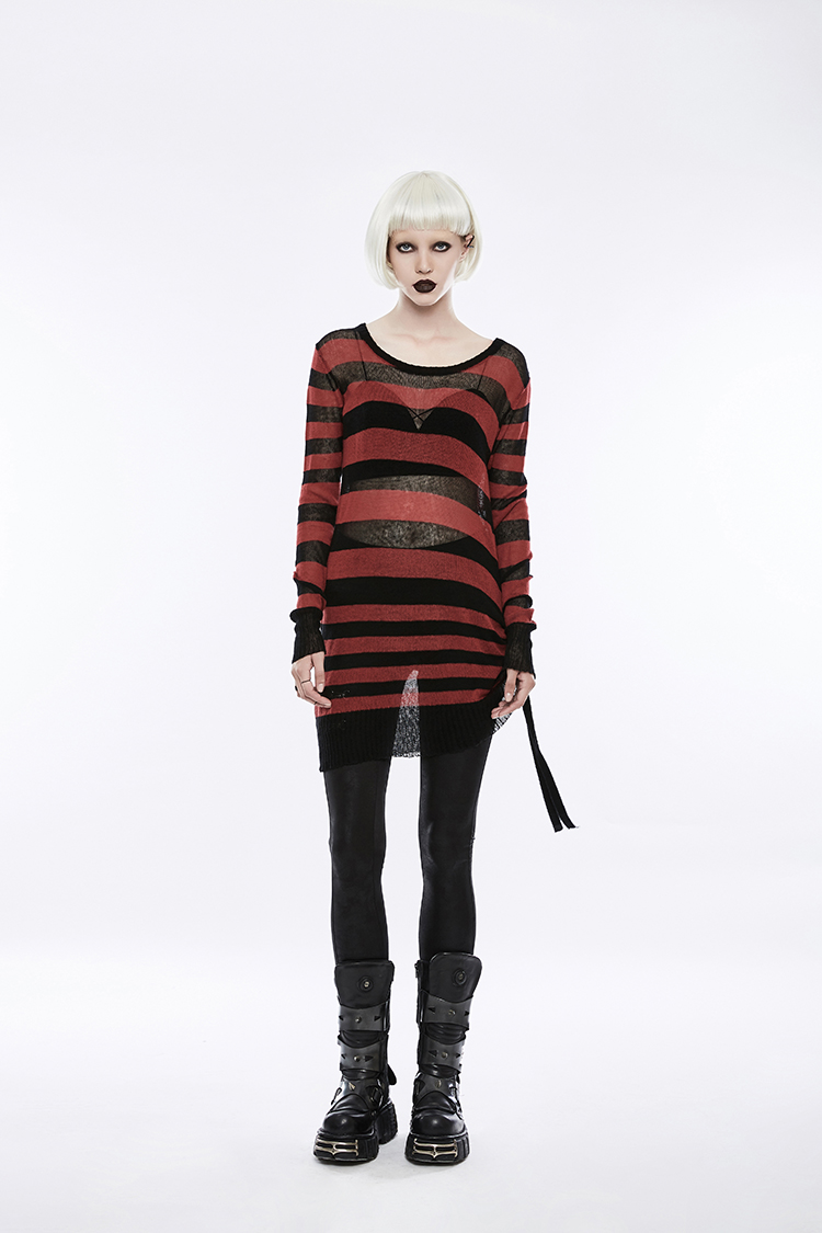 stripe color wide width Girls pullover sweater