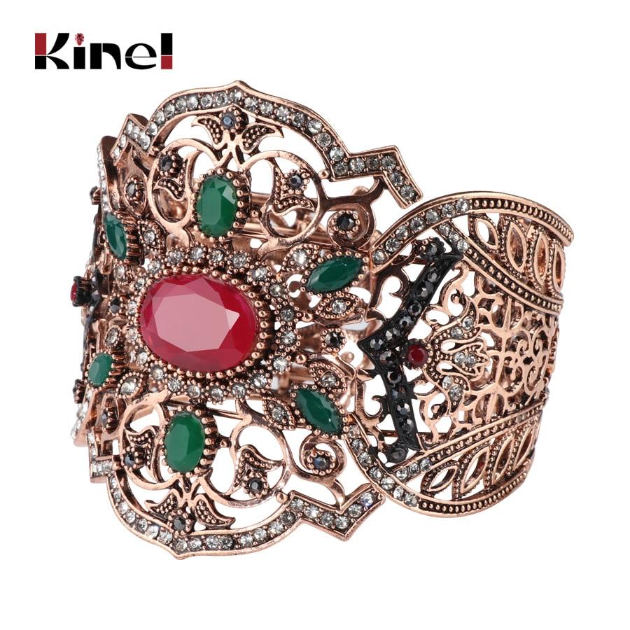 Unique Vintage Jewelry Cuff Bracelet For Women Antique Gold Turkish Style Can Adjust Size Charm Big Bracelet Party Accessories vintage rhinestone alloy cuff bracelet for women