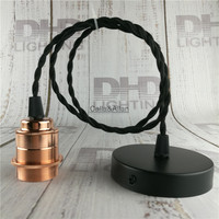 Copper Material Brass Socket Rose Gold Colors Finished With Ceramic Socket DIY Pendant Light Fixture E27