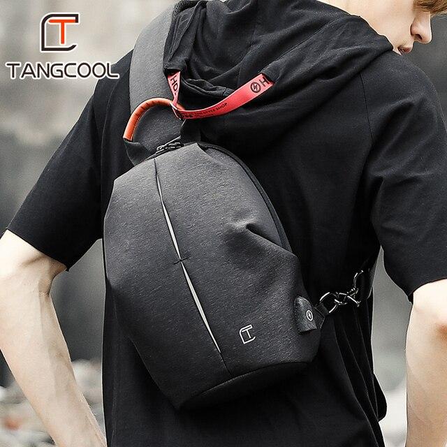 Tangcool Saco de Homens Moda Mensageiro Homem Pacote Saco Peito Dos Homens de Design De Carregamento USB Anti Theft Shoulder Crossbody sacos para Adolescentes