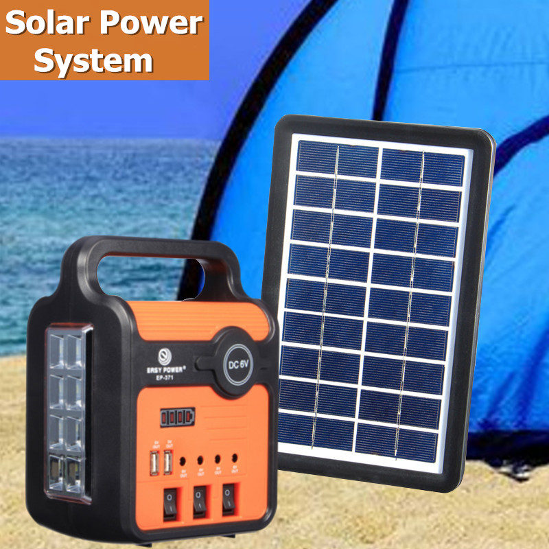 Portable Home Outdoor Small Solar Panels Charging Generator Solar Energy Kit Power generation System with 3 LED Lamps