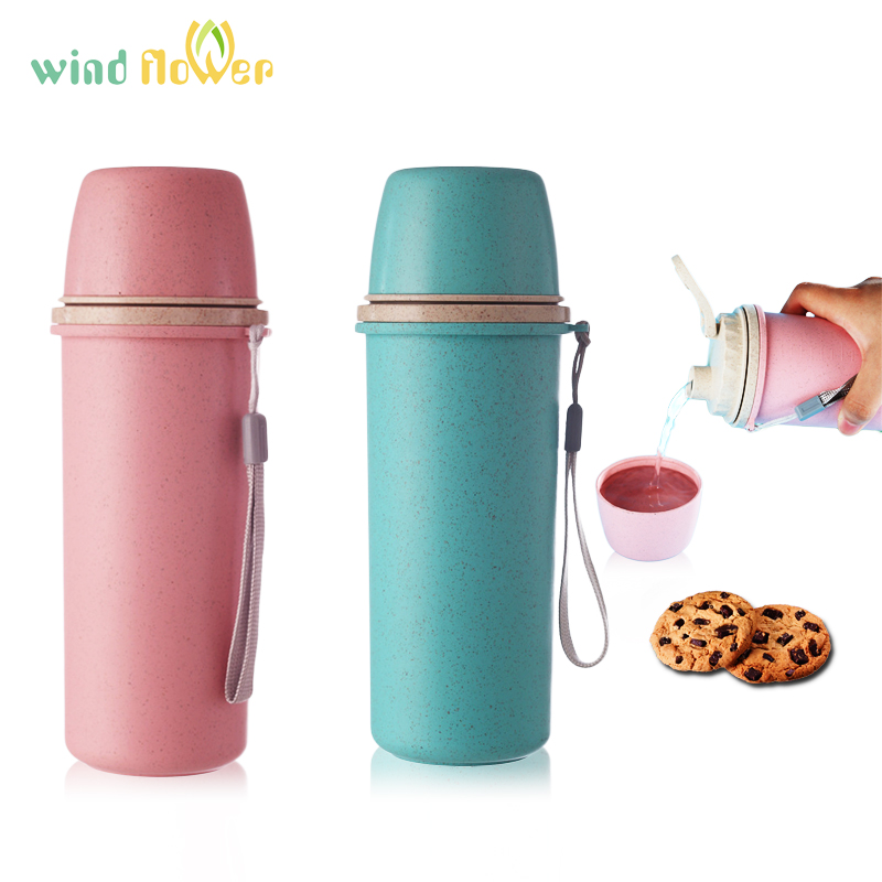 7c68751f63c Wind flower Nature Wheat Straw Fiber Plastic Double Anti-Scalding Water  Bottle Couple And Office Water Bottle