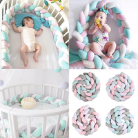 250cm Length Baby Bed Bumper Pure Colorful Weaving Plush Handmade Baby Crib Protector For Newborns Baby Infant Knot Pillow