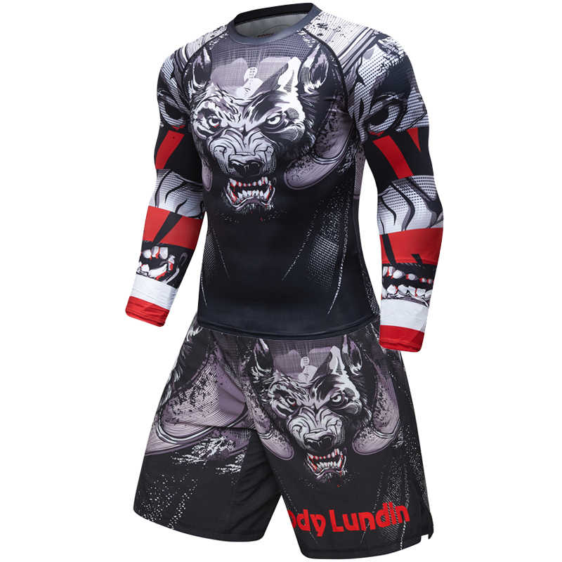 Brand New męska dres 3D i w najlepszych cenach napięta skóra kompresji sporta kostiumu mężczyźni MMA Rashguard budowy ciała Top Fitness sportowe zestaw