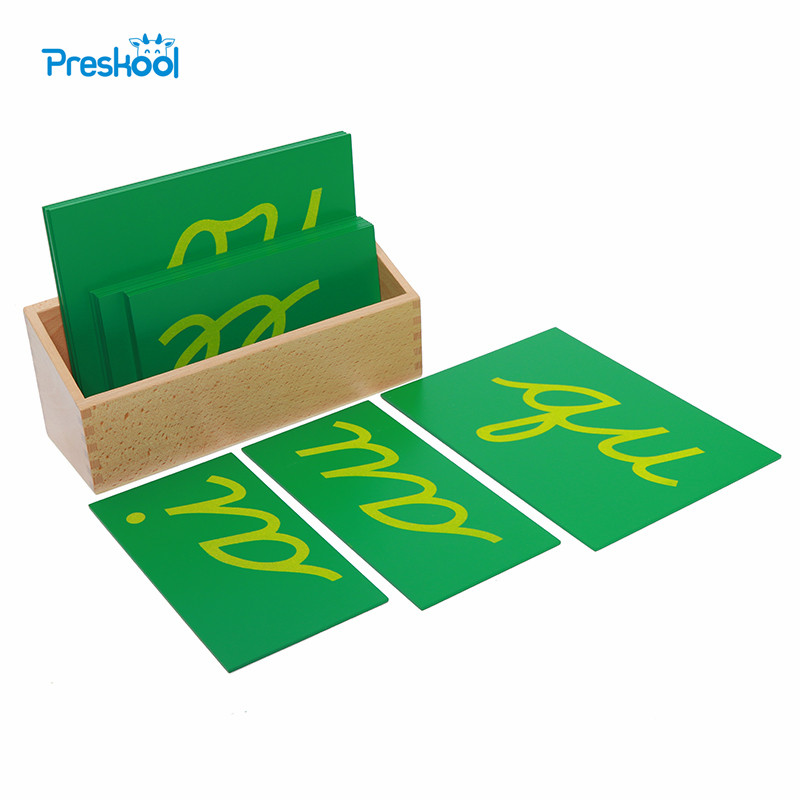 Baby Toy Montessori Sandpaper Double Letters Cursive with Box Early Preschool Brinquedos Juguetes montessori mathematics material 1 9 beads bar in wooden box early preschool toy p101