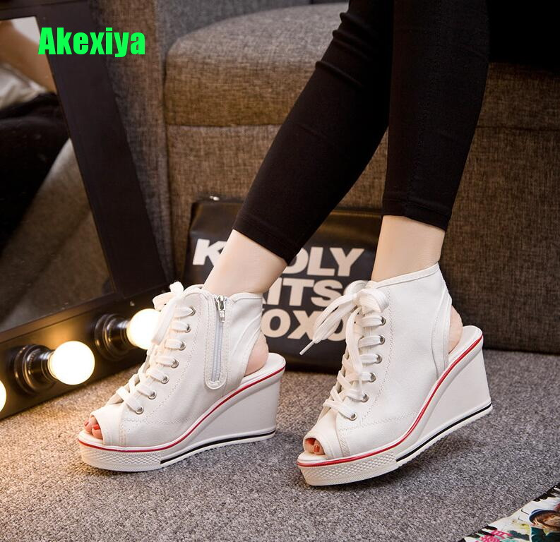 Fashion High Top Wedges Platform Sneakers Women 2018 Canvas Shoes White Casual Shoes Woman Trainers Chaussure Femme Size 41 42 large size 8cm high 2016 women casual canvas shoes woman platform wedges high top with zippers ladies zapatos mujer espadrilles