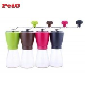 FeiC 1 개 네 가지 색상 손 분쇄기 세라믹 코어 커피 분쇄기 밀 조절 두께 정도 휴대용 휴대용 하리오 스타일