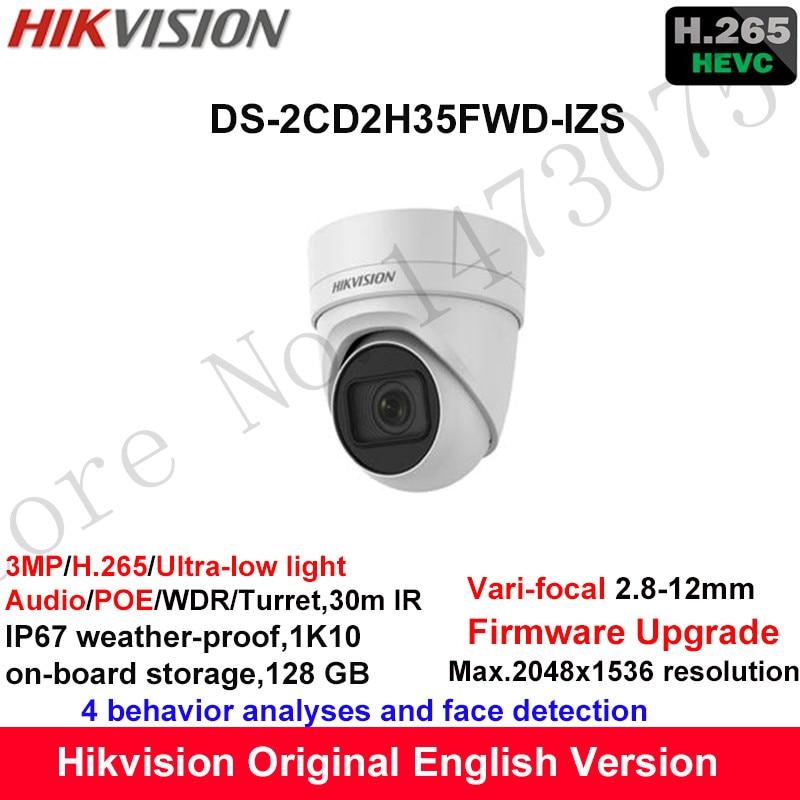 Hikvision 3MP Ultra-low light Vari-focal CCTV IP Camera H.265 DS-2CD2H35FWD-IZS Turret Security Camera 2.8-12mm face detection видеокамера ip hikvision ds 2cd2642fwd izs цветная