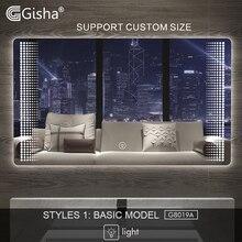 Gisha, умное зеркало, светодиодный, зеркало для ванной комнаты, настенное, зеркало для ванной комнаты, туалетное, противотуманное зеркало с сенсорным экраном, Bluetooth, G8019