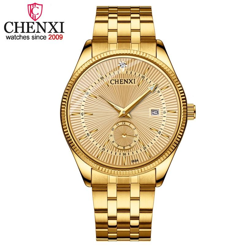 CHENXI marca Calendario de oro relojes de cuarzo de lujo Venta caliente reloj de pulsera reloj de oro hombre reloj de diamantes de imitación reloj Masculino
