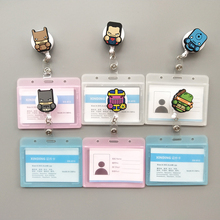 10 Pcs/ Lot New Cartoon Heroes Design Nurse Retractable Badge Reel Holder Pull ID Card Badge Holder Belt Clip Hospital School