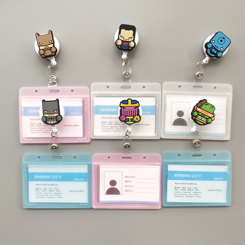 27 Styles New Cartoon Heroes Design Nurse Retractable Badge Reel Pull ID Card Badge Holder Belt Clip Hospital School Lot K024