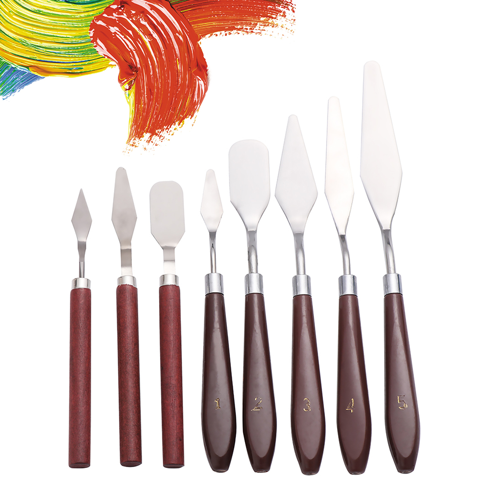3/5Pcs Mixed Stainless Steel Palette Scraper Set With Wooden Handle Spatula Knives Blade For Artist Oil Acrylic Painting Tools