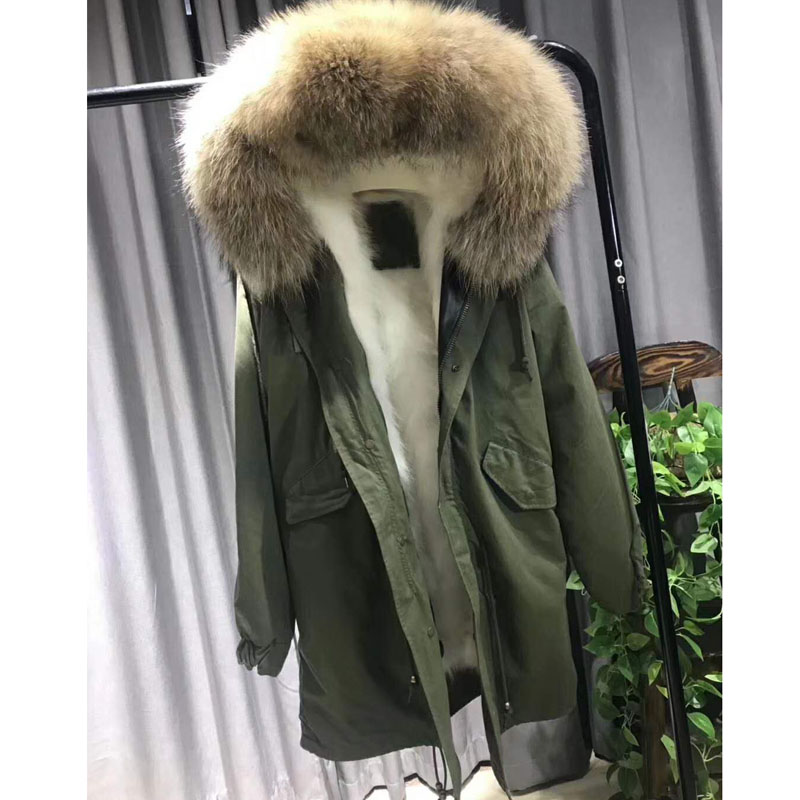 2018 Fashion Women Luxurious Large Raccoon Fur Collar Hooded Coat Warm Fox Fur Liner Parkas Long Wnter Jacket Top Quality WT020