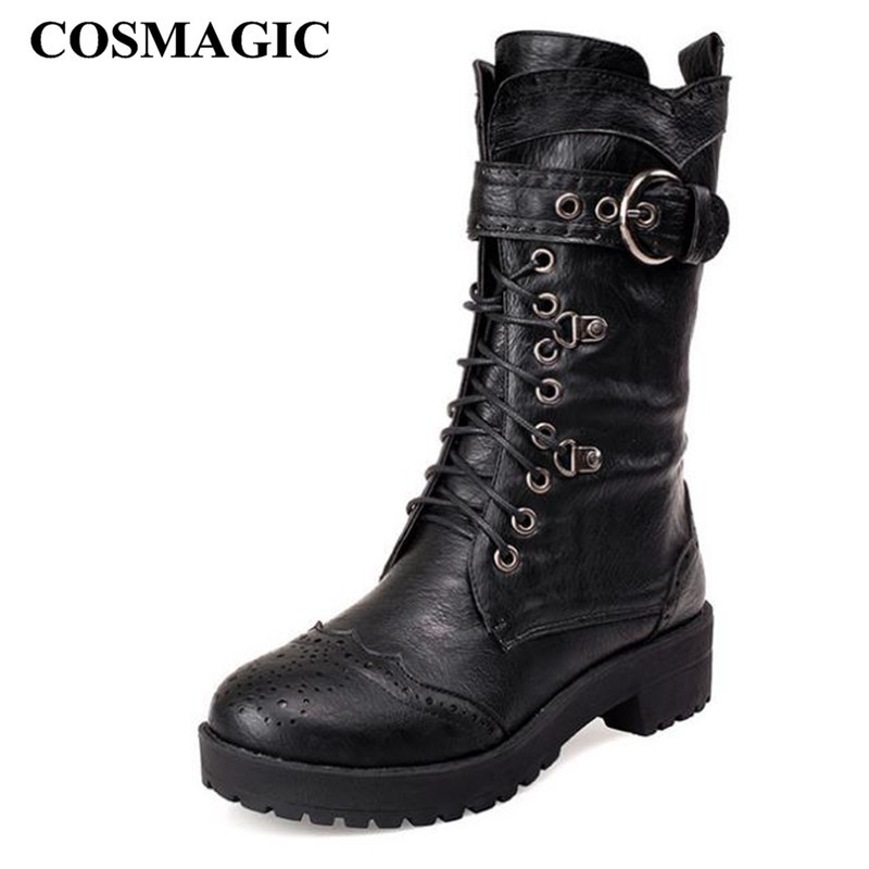 COSMAGIC 2019 New Carved Buckle Women Martin Boots Winter Buckle Strap Vintage Gothic Punk Round Toe