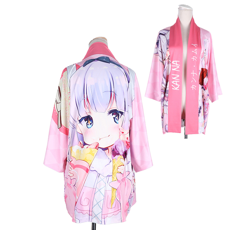 Kobayashi-san Chi No Maid Dragon Kanna Kamui Cloak Haori Cosplay Costume Japanese Casual Kimono Yukata Halloween Party Dress