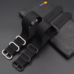Модные часы группа 18 20 21 22 23 24 26 мм новые мужские черные туфли высокого качества пряжка нейлон ремешок для тяжелых условий эксплуатации для