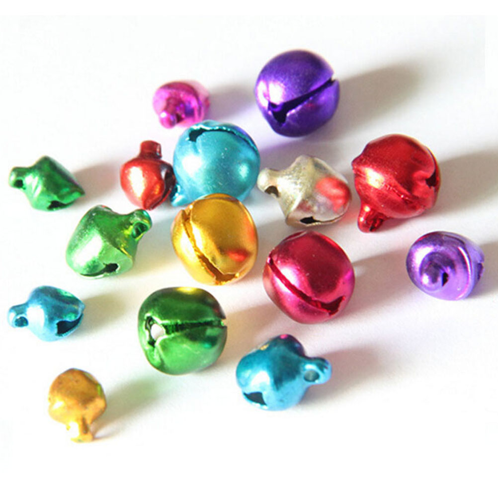 Jingle bell ornaments - 100pcs Lot Colorful Diy Crafts Handmade Mix Colors Loose Beads Small Jingle Bells Christmas Decoration Gift 6 8 10mm Wholesale