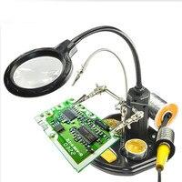 はんだごてデスクランプ溶接拡大鏡 led ライト 2.5X 4X レンズ補助クリップルーペハンド修復ツール 3 クリップ -