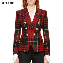2018 Spring New Jacket Women Metal Lion Buttons Double Breasted Plaid blazer feminino