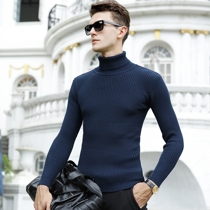 Men's Sweater Pullovers Turtleneck Slim-Fit Knitted Autumn Winter New Brand Casual Solid