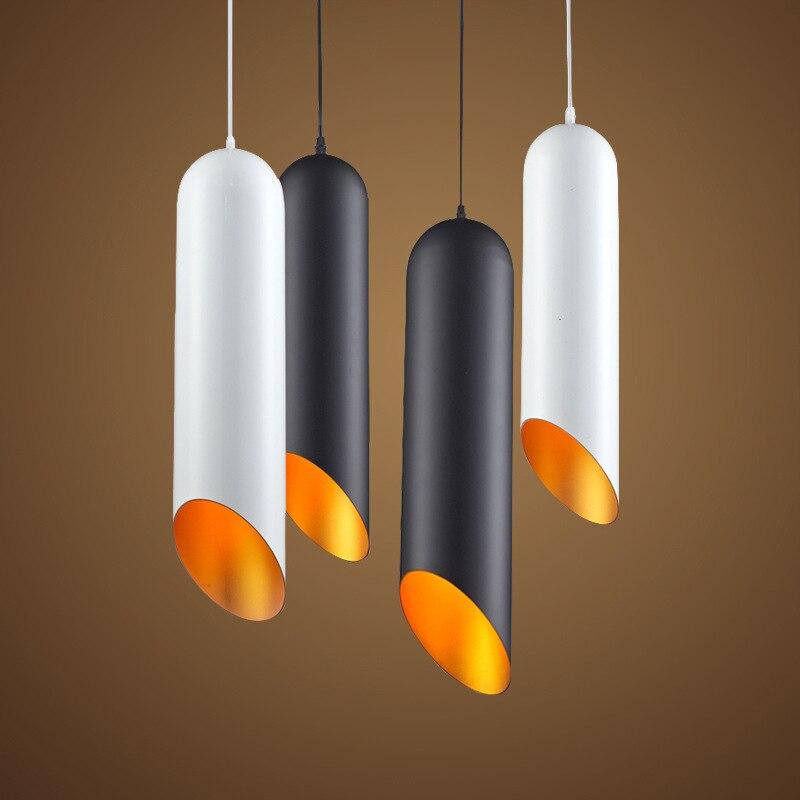 American Style Pendant Lamp Dia12cm*H50cm Kitchen Pendant Light Metal Hanging Lamp 110-240V Black White Dinning Light WPL074 zg9046 pendant light ac 110 240v