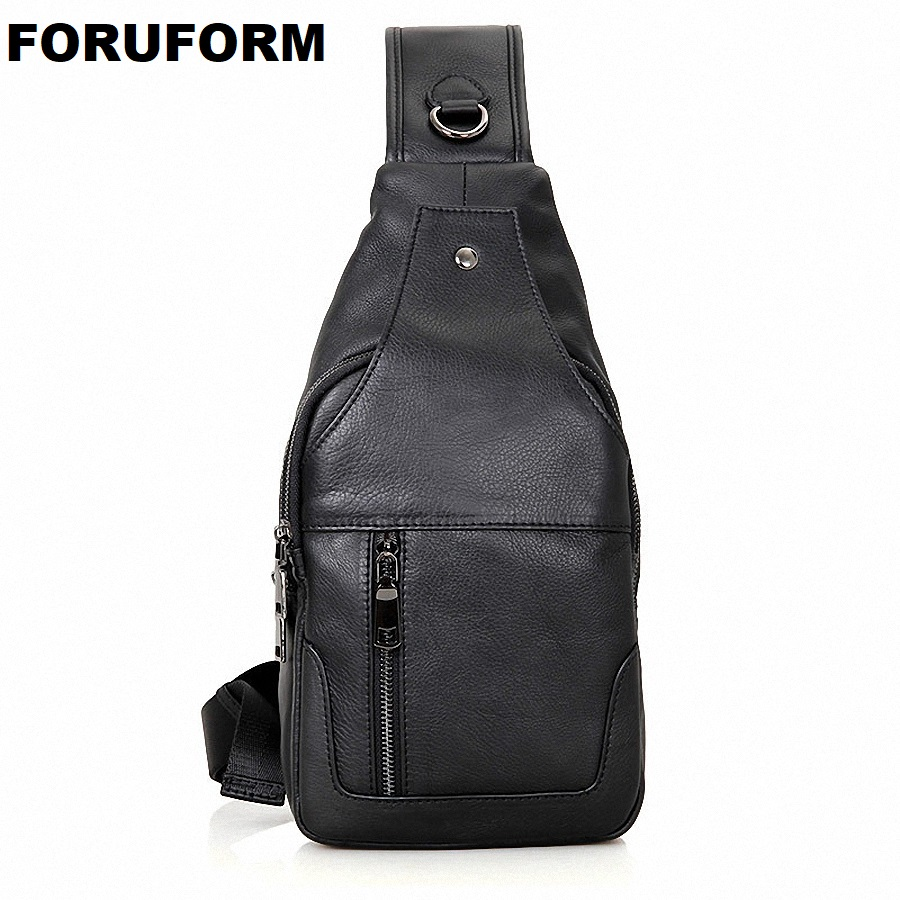Mens Vintage Genuine Leather Chest Bag Travel Messenger Shoulder Cross Body Sling Pack Chest Casual Bag Li-820 Engagement & Wedding