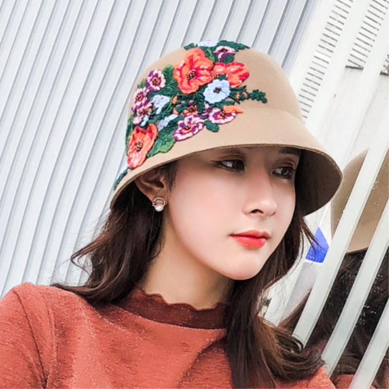 db444028 ... Seioum Autumn winter England retro Women Winter 100% Wool Felt Hats  Lady Party Formal Brim ...